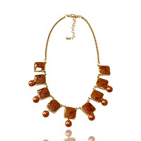 Enamel Swirl and Faux Pearl Necklace