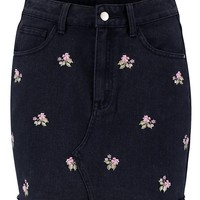 Pink Embroidery Denim Skirt | Boohoo