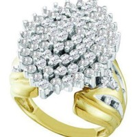 Pricegems 10K Yellow Gold Ladies Round Brilliant Diamond Cluster...
