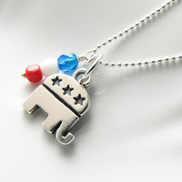 Republican charm political party necklace sterling silver Republican elephant red white and blue vote political party