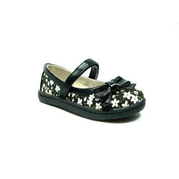 Toddler Girls Floral Design Velcro Closure Mary Jane Flats