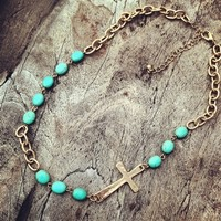 Turquoise Beaded Side Cross Necklace