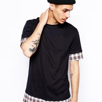 Reclaimed Vintage Longline T-Shirt with Check Underlayer - Black
