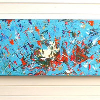 Original Modern Abstract Art Painting Textured Blue Acrylic on Canvas Wide