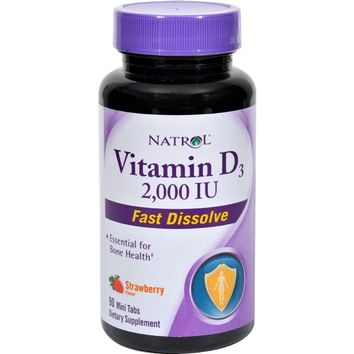 Natrol Vitamin D3 Wild Cherry - 2000 Iu - 90 Mini Tablets