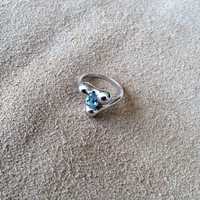 Sterling Silver Ring with light blue stone, High polished silver with modern Water inspired shape, original design