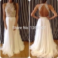 Halter Heavy Beaded Diamond Top Open Back A Line Chiffon Prom Dresses Fashion Gowns Backless Summer