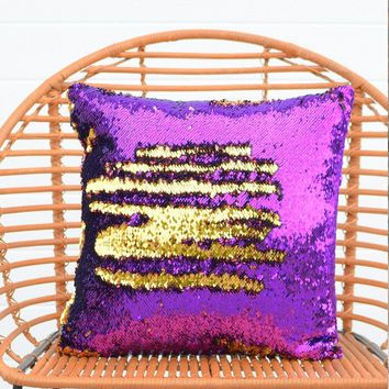 Orchid Purple & Dark Gold Sequin Mermaid Pillow