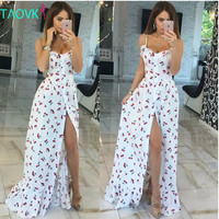 Russian famous TaoVK fashion 2016 summer women long Cherry printing white empire strapless floor length dresses
