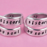 sisters by soul - Spiral Rings Set, Hand Stamped, Handwritten Font, Shiny Aluminum, Friendship, BFF
