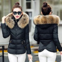 Sexy warm winter with thick cotton-padded jacket high quality Black