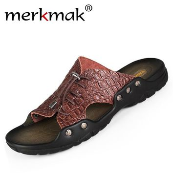 Merkmak 2017 New Men Genuine Leather Holiday Beach Shoes Flip Flops Men's Casual Flat Shoes Sandals Summer Slippers For Men