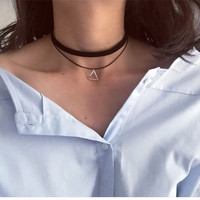 Multilayer Choker With Triangle Pendant