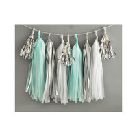 Paper Garland & Metallic Mini Tassels - 20 Tassel DIY Kit - Light Blue White Silver Foil - Wedding Decor Party Bridal Shower Baby Birthday