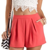 Pleated High-Waisted Shorts by Charlotte Russe - Coral