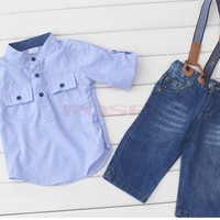 Boys Baby Striped Dress Shirt Top + Braces Jeans Pants 2pcs Tuxedo Outfits SV006244|26601 Children's Clothing = 1745602820