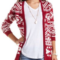 Aztec Print Open Cardigan by Charlotte Russe - Burgundy Cmb