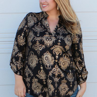 Patiently Waiting Baroque Print Tunic With Roll Tab Sleeves ~ Gold ~ Sizes 12-18