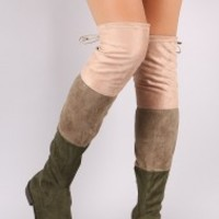Colorblock Drawstring-Tie Riding Over-The-Knee Suede Boots