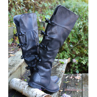 Little Bow Chic Tall Black Riding Boots