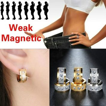 8DESS Fashion Grind Stainless Steel Healthcare Weight Loss Earrings Hand String Slimming Healthy Stimulating Acupoints Gallstone Earrings Magnetic Therapy Jewelry