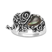 Silver Plate Mother-of-Pearl Elephant Ring