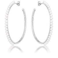 Brook Inside Out CZ and Pearl Hoops