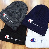 Champion Life Knit Pom Beanie Fashion Men's And Women's Knitted Cap Hat I