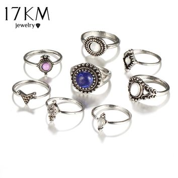 17KM Vintage Big Blue Stone Finger Ring Set Antique Bohemian Jewelry Knuckle Rings For Women Fashion Party Accessories 8PCS/Lot
