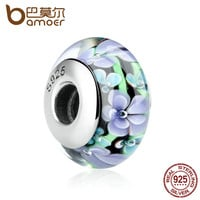 BAMOER 925 Sterling Silver Colorful Flower Pattern European Glass Beads Charms f