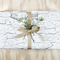 Cracked Paint on Birch Wood Grain Natural Rustic Wrapping Paper / Gift Wrap