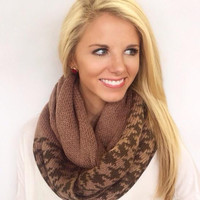 Houndstooth Happy Infinity Scarf