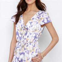 I. Madeline Hum of Things to Come Purple Floral Print Romper