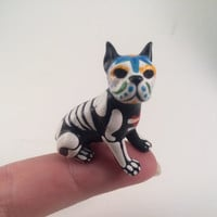 Boston Terrier Day of the Dead dog figurine Sugar Skull puppy art sculpture Hand Painted Dia de los Muertos Halloween Decor