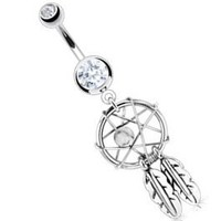 """Body Accentz® Belly Button 316L Surgical Steel Dream Catcher Woven Star Design with Bead and Feathers Fancy Navel Ring Dangle Body Jewelry 14g 3/8"""" HO715"""