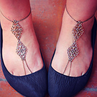 filigree barefoot sandals, slave anklets, leg piece, foot piece, unique anklet