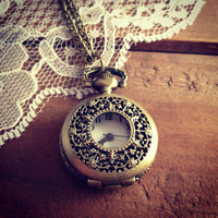 1 Pc Small Floral Vintage Style Pocket Watch Necklace Engravings Pocketwatch CHAIN INCLUDED  Y008
