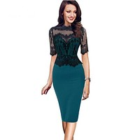 WHIPSHAPE Women's Fine Fashion Vintage Figure Reveal Silhouette Lace Embroidery Pencil Dress