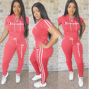 Champion Hot Sale Women Casual Long Sleeve Top Pants Set Two-Piece