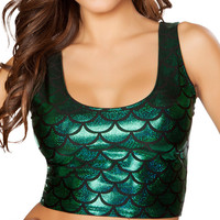 Hunter Green Mermaid Crop Top