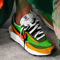 Sacai X Nike LVD WAFFLE Trending Men Women Sport Running Shoes Snekers Green&Yellow&Orange