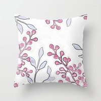 Pink Bud Flowers Print Throw Pillow by Bee Zazzler :)