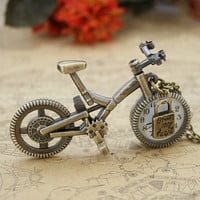 Antique bronze bicycle pocket watch necklace with lock charm by mosnos