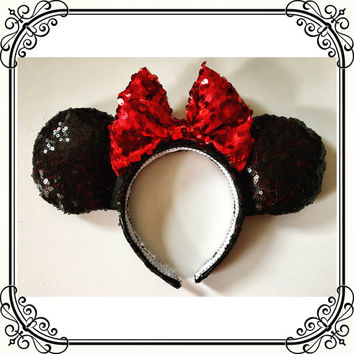 Sparkle sequin Minnie Ears, black and red minnie ears, black sparkle minnie ears, black sequin minnie ears with red sparkle bow, shiny ears