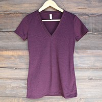 Triblend Short Sleeve Deep V-Neck Tee in Amethyst Triblend
