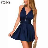 New Women Summer Sexy Deep V-neck Mini Dress Sleeveless Backless A-line Dress Fashion Ruffled Hem Dress