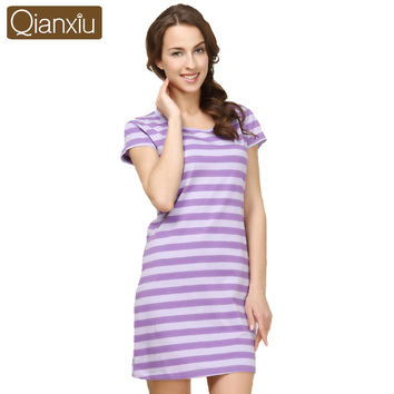Qianxiu 100% cotton women's short-seleeve nightdress sell all over the world
