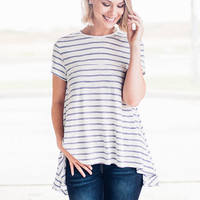Blue Striped High Low Top