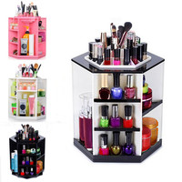 360 Degree Rotating Cosmetic Organizer Make Up Box Brush Holder Clean up Display Home Makeup Case Storage Insert Holder Box F2