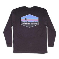 Midnight Tower Long Sleeve Tee in Charcoal by Waters Bluff